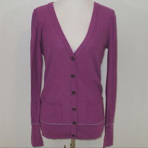 Aeropostale Purple Cardigan Sweater w/ Gray Detail
